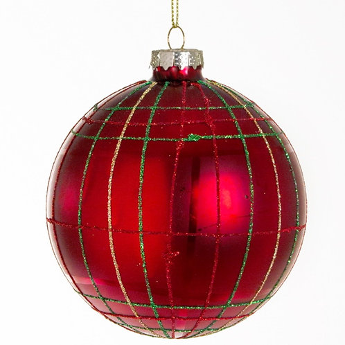 Xmas ball red with green and gold details 8cm