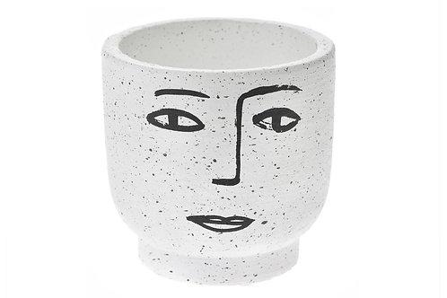 White ceramic pot Face 13 x 13 cm