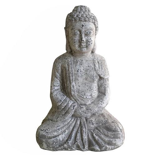 SITTING BUDHA ANT.GREY,31x20x49CM