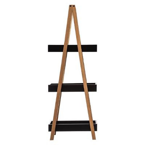 Floor shelf 3-storey Nancy wooden color natural-black 30x18,5x82cm