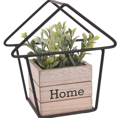 Wood Home pot with green in metal house 16 x 9 x 17cm