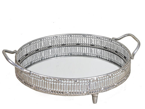 Oval tray with mirror glass silver 36 cm