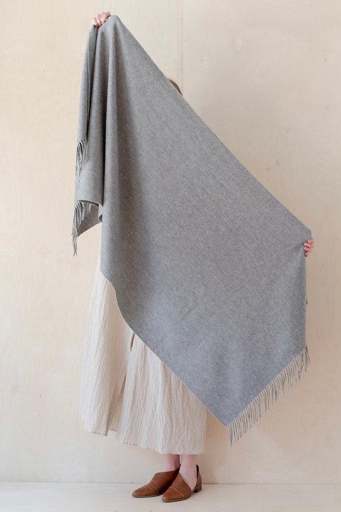 Lambswool Blanket Scarf in Grey Melange