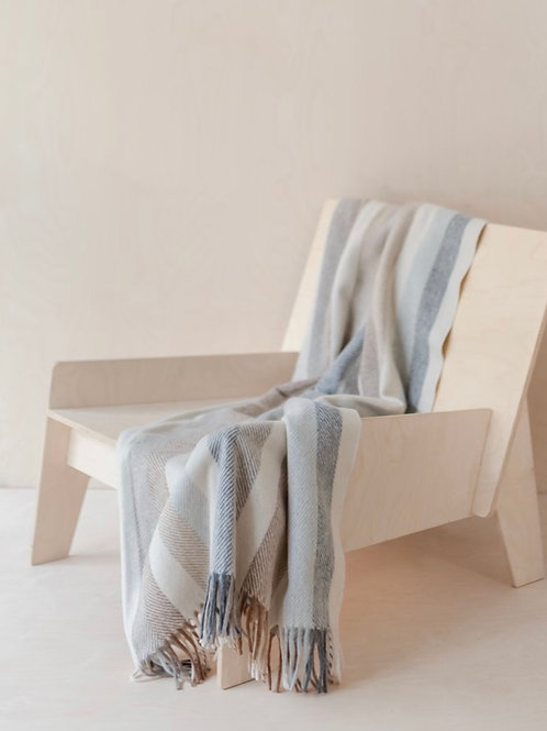 Recycled Wool Knee Blanket in Neutral Stripe