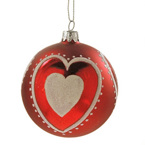Xmas ball heart des. White/red 10cm