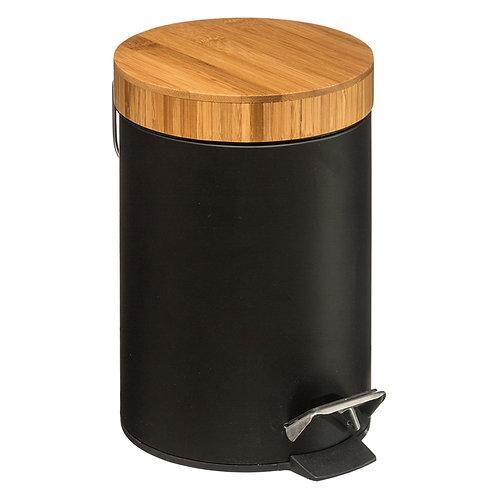 Trash bin 3L Dustbin metal-pp black-oak