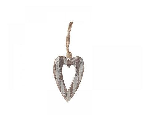 Wooden deco hanging heart 8X11 cm