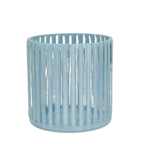 Candle holder glass blue  11X11X11cm