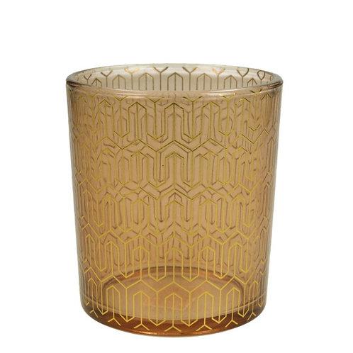 Tealight holder glass gold 8.8X8.8X10cm