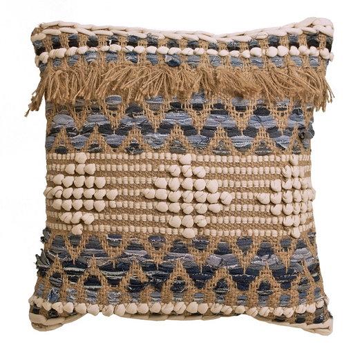 Handwoven cushion, blue/natural 45X45cm