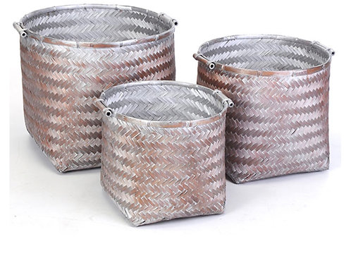 Bamboo storage basket rose gold 37X32