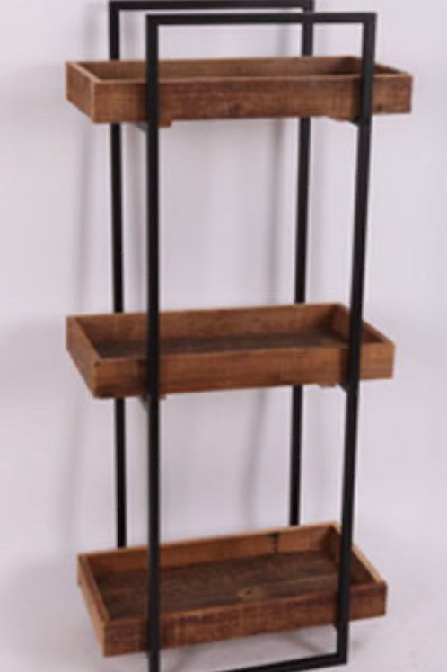 Black metal stand with wood shelves 50 x 28,5 x 111 cm