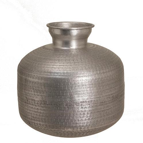 Artistic aluminium vase mat silver 35x39cm