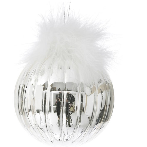 Xmas glass ball silver&feather 10cm