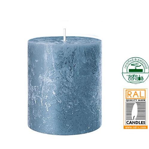 Candle rustic blue 7 x 7 x 8cm
