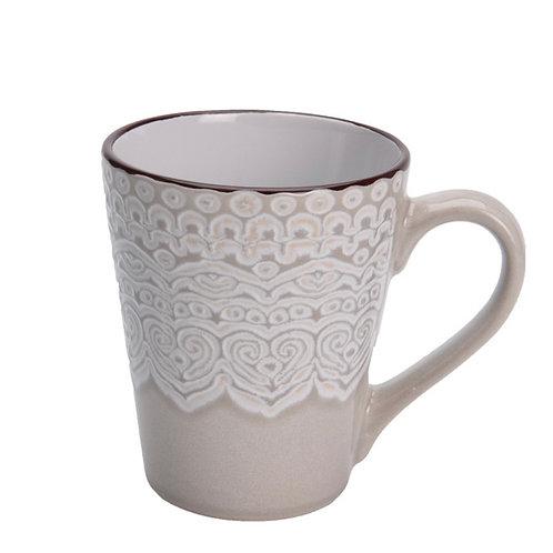 Mug 340cc stoneware reactive glaze with embossed design