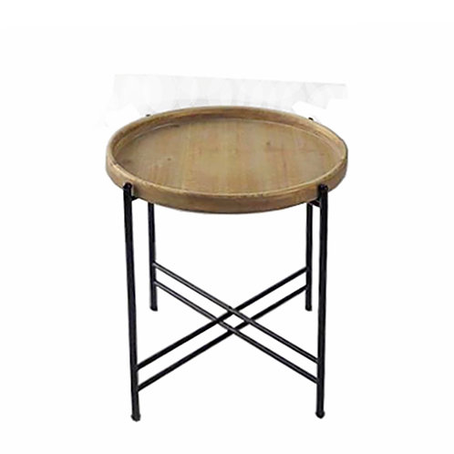SIDE TABLE, WOODEN TOP,D.46X 57.5CM