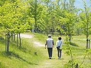 散歩するおじいちゃんおばあちゃん