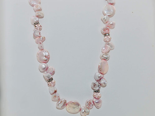 Soft pink and lavender baroque fresh water pearl necklace
