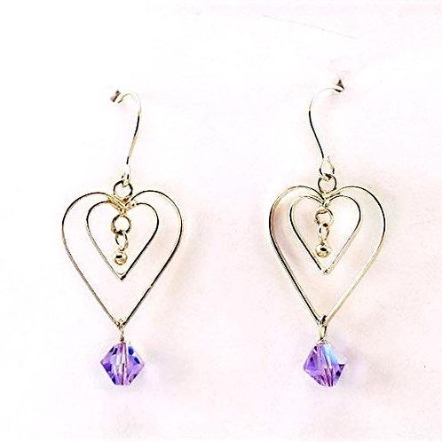 Swarovski Crystal on Sterling Silver Hearts