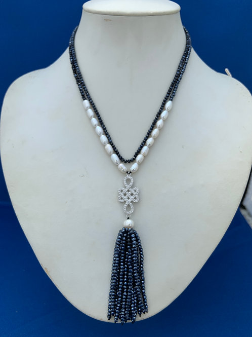 Crystal Pearls Buddhist knot with Tassel