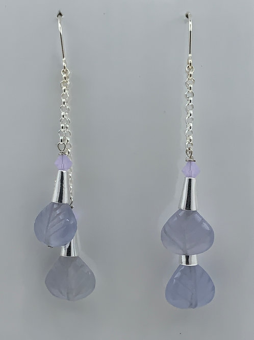 Chalcedony and Swarovski Crystal on Sterling Silver