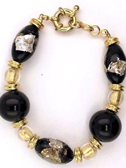 Murano Glass in Brass Bracelet