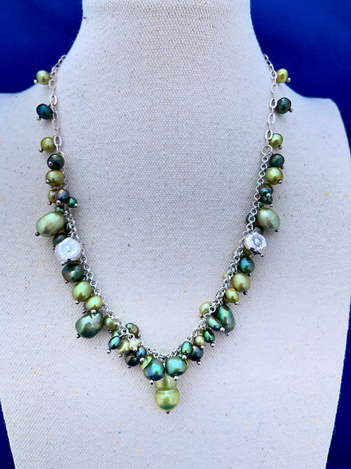 Multicolored Freshwater Pearls on Sterling Silver.