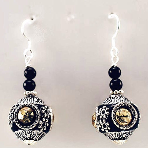 Artisan bead & sterling silver earrings