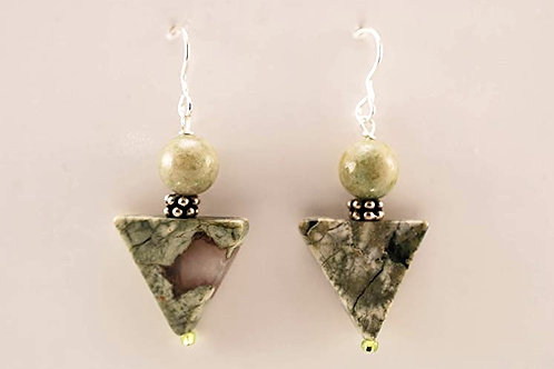 Rhyolite triangular and round bead st. silver earring