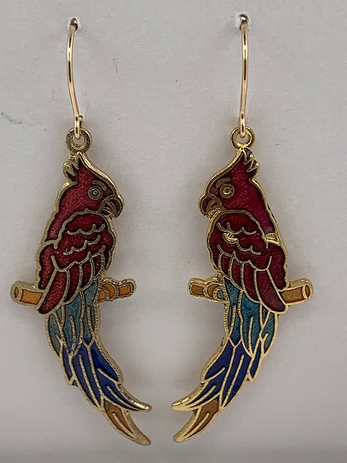 Cloisonne parrot with 14K G/F ear wires
