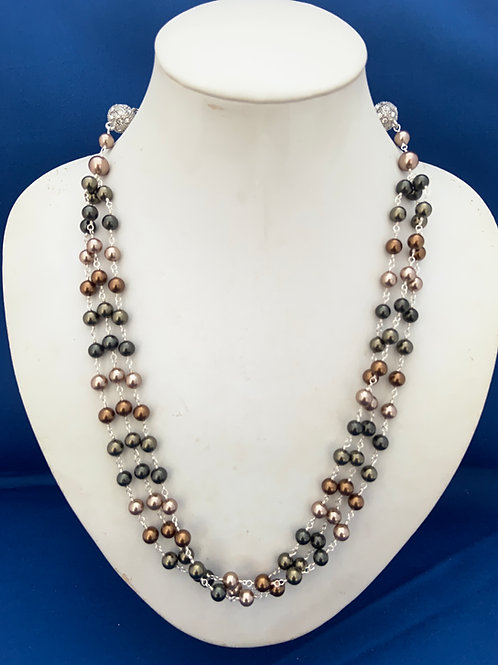 Glass Beads wrapped in coated silver versatile necklace.