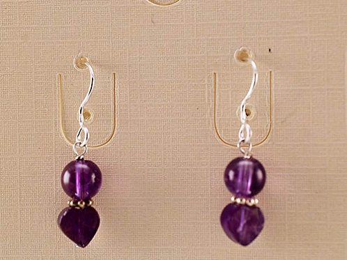 Amethyst bead Sterling Silver Earrings