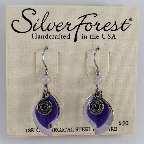 Silver Forest Purple Triple Layer Earrings