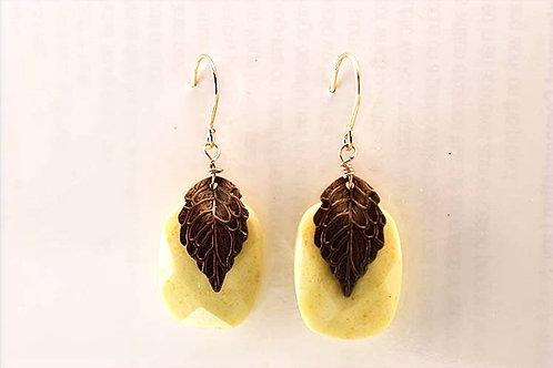 Gaspeite faceted rectangle & leaf on 14K Gold Filled