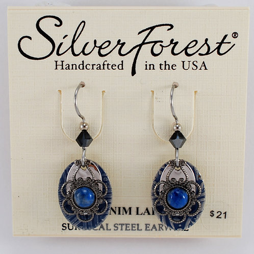 Silver Forest Denim Lapis Triple Layer Earrings