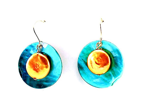 Shell and Golden Coin Pearl with 14Kt Gold Filled