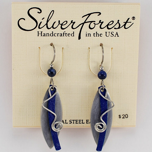 Silver Forest Abstract Cricket Earrings