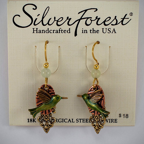 Silver Forest Humming Bird Triple Layer Earrings