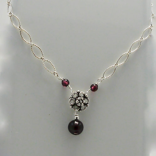 Garnet Beaded Floral Necklace