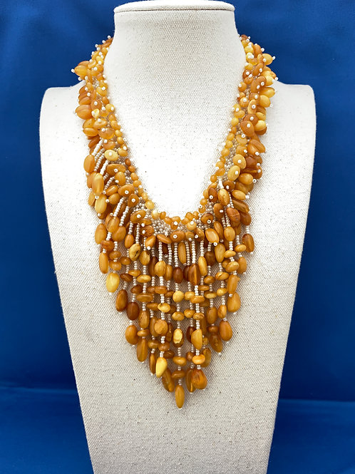 Butter Scotch Amber on Glass Pearls