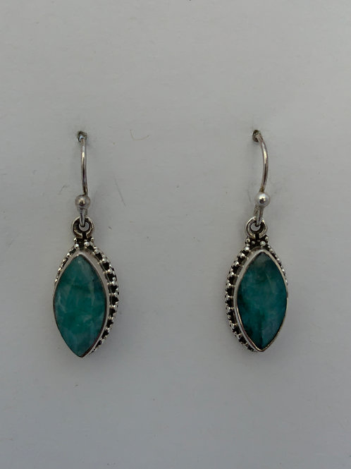Faceted Emerald on Sterling Silver