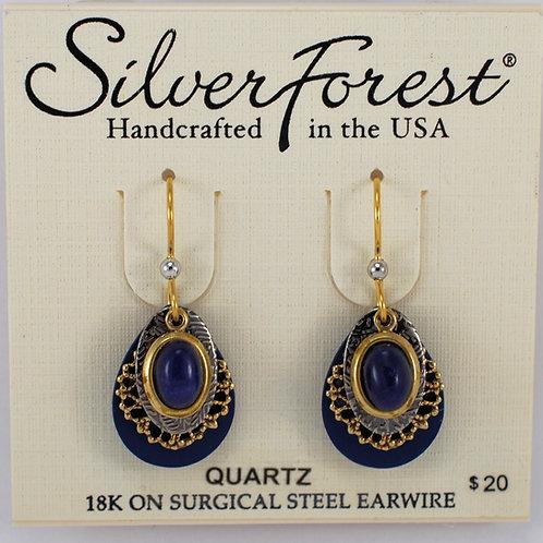 Silver Forest Quartz Triple Layer Earrings