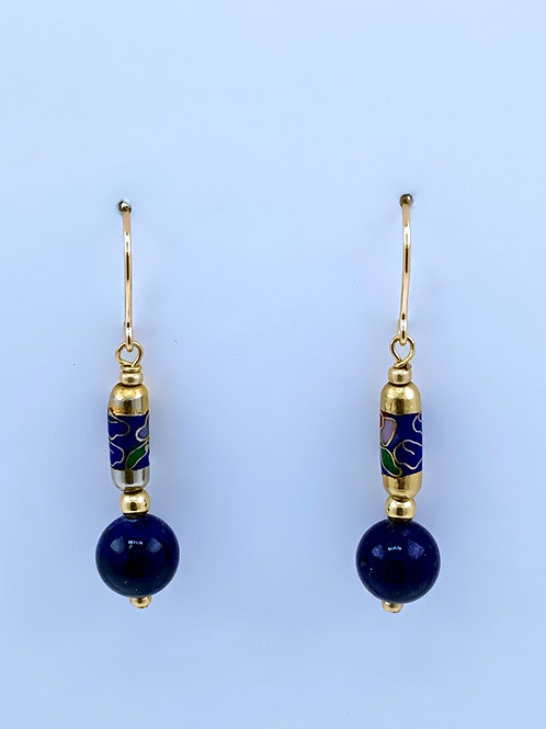 Lapis with Cloisonne on 14K G/F