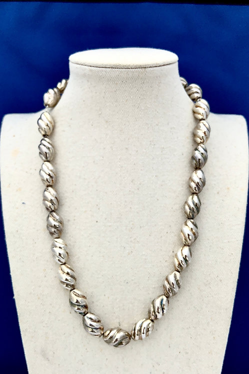 Sterling Silver Swirl Bead Necklace