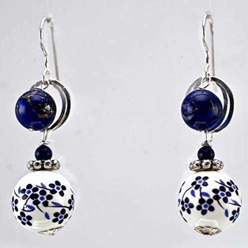 Porcelain Lapis and Sterling Silver