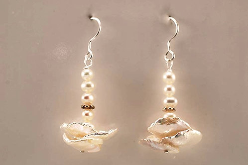 Keshi and Freshwater pearls with sterling silver