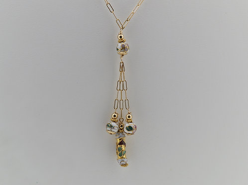 Cloisonne beads wire wrapped necklace