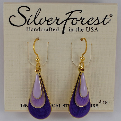Silver Forest Layered Purple Ombre Earrings