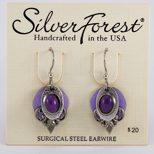Silver Forest Purple Quartz Quadruple Layer Earrings